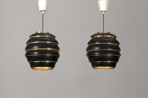 Pair of Large Beehive 'A332' Ceiling Lamps