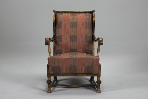 Pair of High Back Armchairs