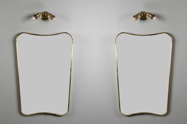 Pair of Lighted Wall Mirrors