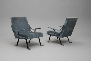 Pair of Adjustable 'Digamma' Armchairs