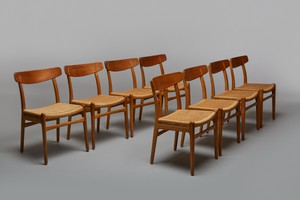 Set of Eight Dining Chairs, Model no. CH 23