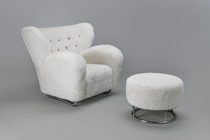 Rare Armchair and Ottoman