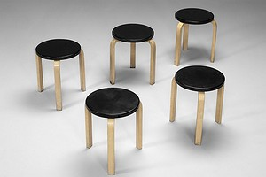 Five leather covered Aalto Stools