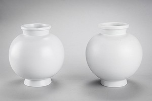 Pair of white Carrara vases