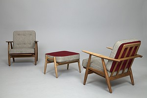 Two Wegner Chairs with Footstool