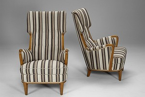 Pair of High-back Armchairs