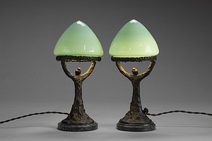 Two Small Bronze Table Lamps