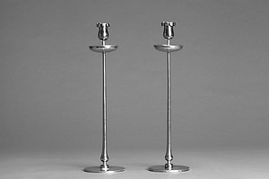 Set of Four Pewter Candlesticks