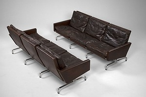 Pair of PK31 Brown Sofas