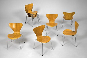 Set of Ten Pine Jacobsen Chairs
