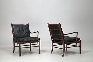 "Pair of Black ""Colonial"" Chairs"