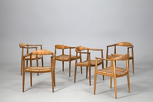 "Six Hans J Wegner ""The Chair"""