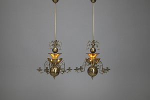 Pair of Brass Electrified Chandeliers
