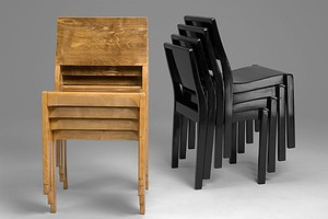 Four Black Aalto chairs No. 611