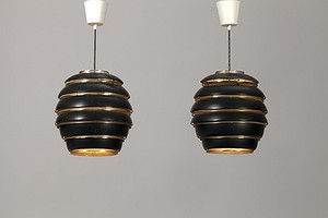 "Pair of Beehive ""A332"" Ceiling Lamps"