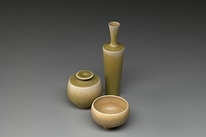 3 Yellow Friberg Vases
