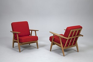 A Pair of Hans J. Wegner Easy Chairs