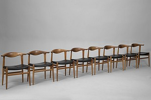 Set of eight 'Cowhorn Chairs'