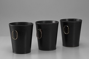 Three Leather Paper Baskets