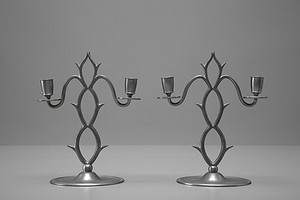 Pair of Pewter Candelabras