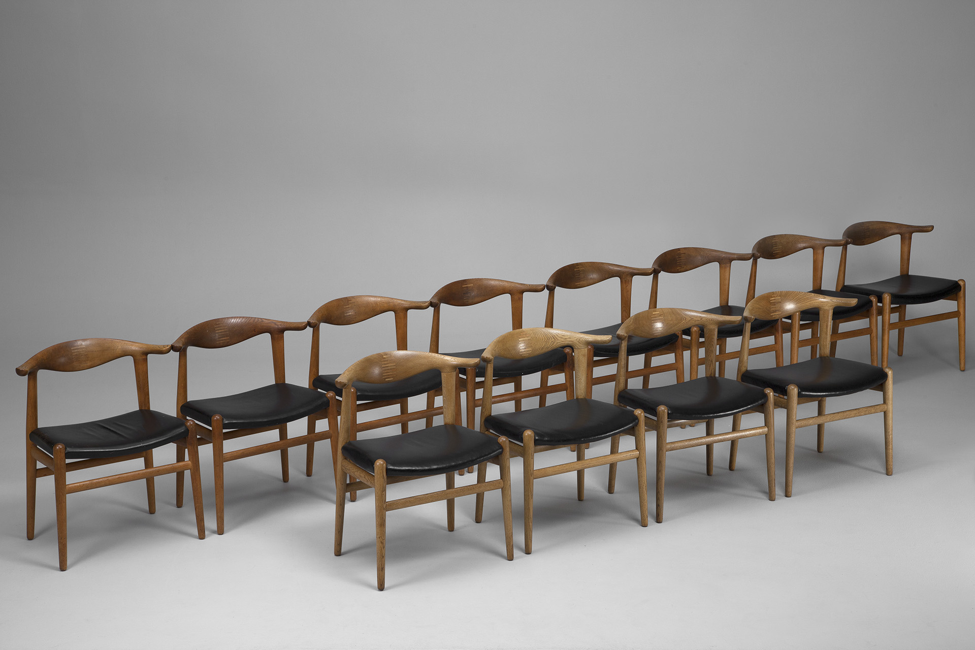 Set of Twelve 'Cowhorn Chairs'