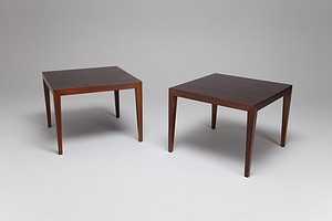 A pair of square coffee tables