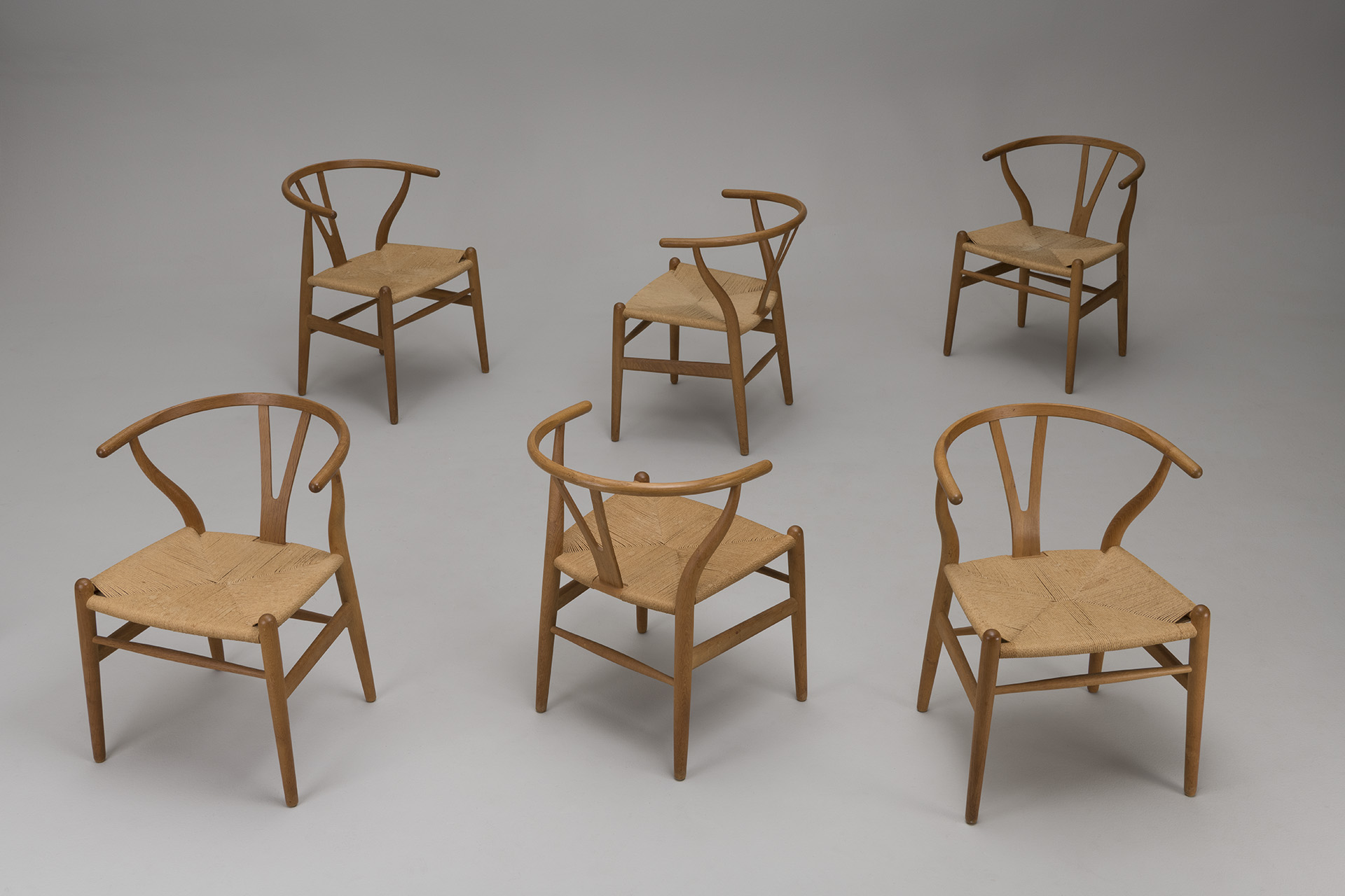 Set of Six 'Wishbone' Armchairs, Model no. CH-24