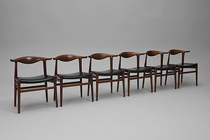Set of Six 'Cowhorn' Dining Chairs