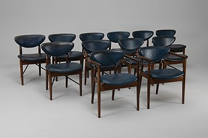 Rare Set of Ten Chairs, Model no. 108 and Two Armchairs, Model no. 109